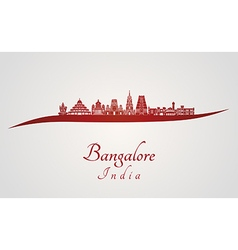 Bangalore skyline in red vector