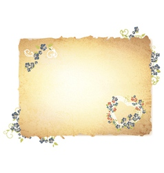 Burnt paper with forget me not flowers vector