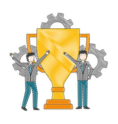 businessman with trophy gears team work vector image