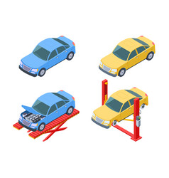 Car repair isometric vehicle service changing vector