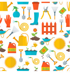 cartoon gardening equipment background pattern vector image