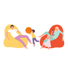 Children need care tired parents active kids vector
