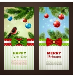 Christmas cards 2 banners set vector