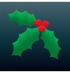 Christmas Holly in Stripes vector
