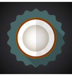 Coconut Fruit Flat Icon with long shadow vector image
