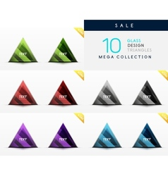 Collection of glass triangle web boxes vector image