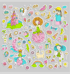 colored set of teenage girl stickers cute cartoon vector image