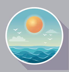 Colorful poster with circular frame of sky ocean vector