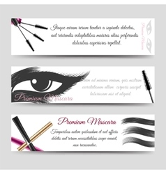 Cosmetics horizontal banners mascara vector