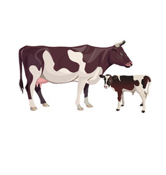 Cow mother with baby calf vector