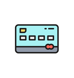 credit card flat color line icon vector image