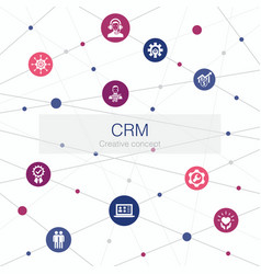 Crm trendy web template with simple icons vector
