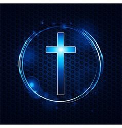 cross over mesh glowing circle vector image