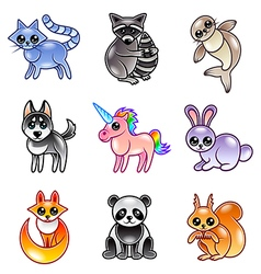 Cute cartoon animals icons set vector