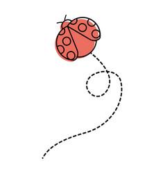 cute flying ladybug animal cartoon vector image