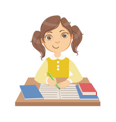 Cute little girl writing at school a colorful vector