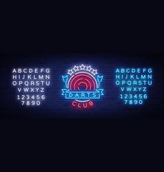 Darts club logo in neon style neon sign bright vector