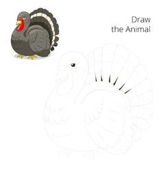 Draw the animal turkey educational game vector image