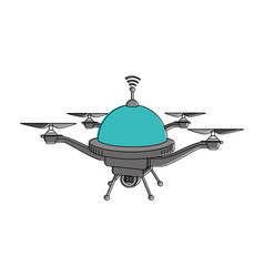 drone flying technology with camera vector image