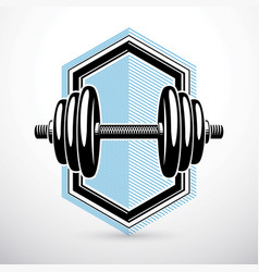 Dumbbell isolated on white composed with disc vector