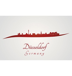 Dusseldorf skyline in red vector image