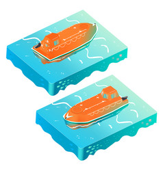 Emergency boat on the oean isometric 2 sight vector