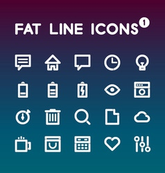 Fat Line Icons set 1 vector