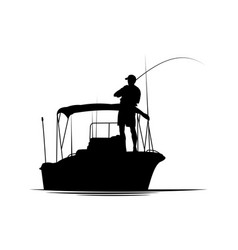 fisherman in boat silhouette vector image