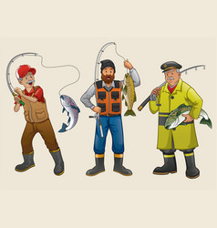 Fisherman people cartoon set vector