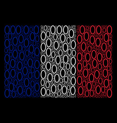 France flag collage of contour ellipse icons vector