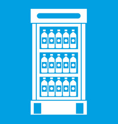 Fridge with refreshments drinks icon white vector