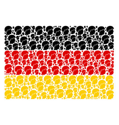 Germany flag collage of soldier helmet items vector