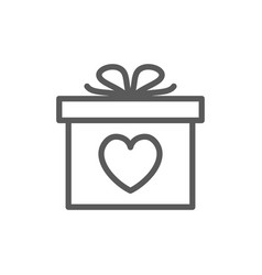 gift with heart valentine day line icon vector image
