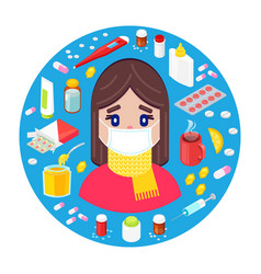 girl with different drugs and medicaments vector image