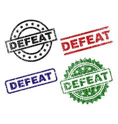 Grunge textured defeat stamp seals vector