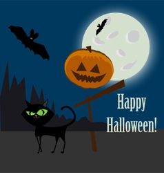 Halloween icon and cat vector image