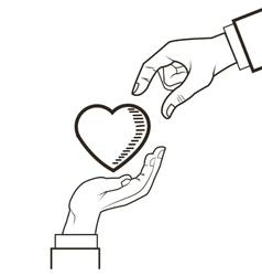 hand heart love design vector image