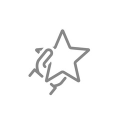 Hand holds star line icon customer review add vector
