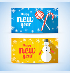 happy new year greeting horizontal banners vector image