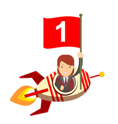 Happy woman holding number one flag in rocket ship vector