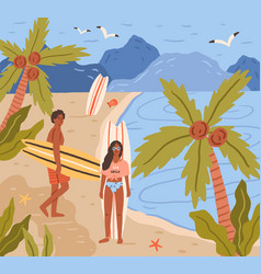 happy young people with surfboards on tropical vector image