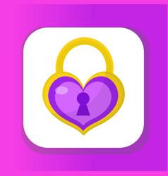 heart lock icon flat design valentines day love vector image