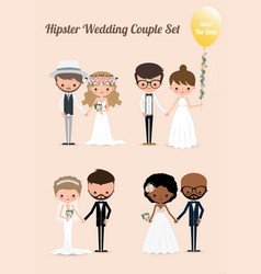 hipster wedding couple set 02 vector image