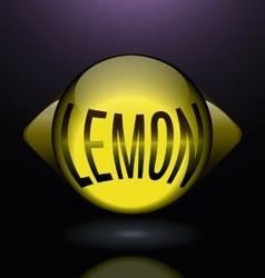 Horizontal glass lemon blue text logo vector