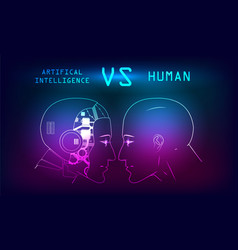 humans vs robots vector image