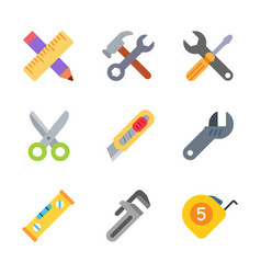 instruments and tools colored trendy icon pack 1 vector image