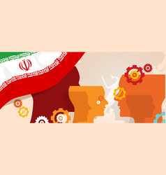 iran flag with creative cogs creativity machine vector image