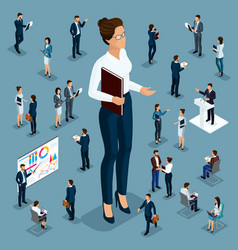 isometric 3d businessmen in different situations vector image