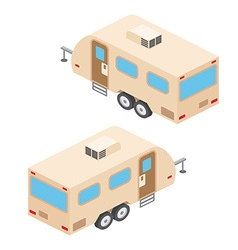 Isometric RV campers trailer RV travel campers vector