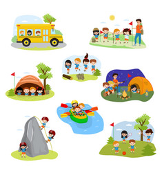 Kids camp children camper characters and vector